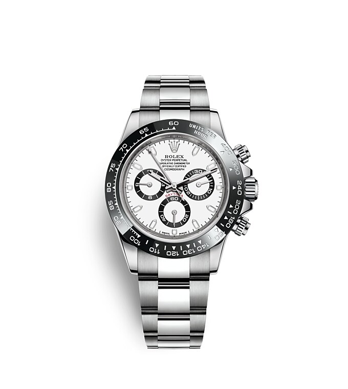 นาฬิกา Rolex Cosmograph Daytona 40 มม., หน้าปัดสีขาว ขอบหน้าปัด Monobloc Cerachrom สีดำ