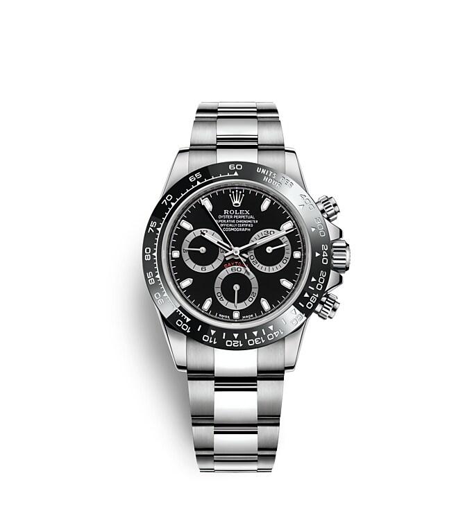นาฬิกา Rolex Cosmograph Daytona 40 มม., หน้าปัดสีดำ ขอบหน้าปัด Monobloc Cerachrom สีดำ