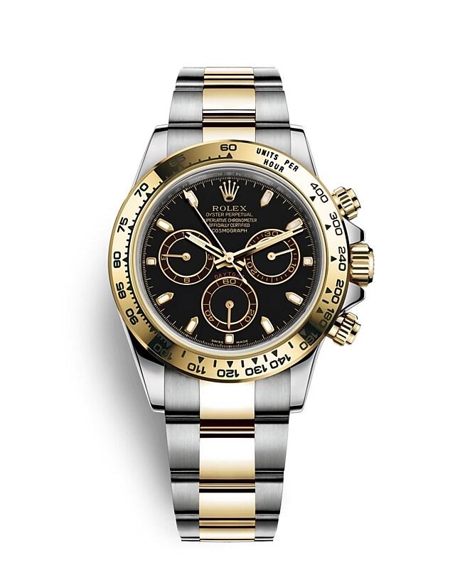 นาฬิกา Rolex Cosmograph Daytona 40 มม., Oystersteel และทองคำ, หน้าปัดสีดำ