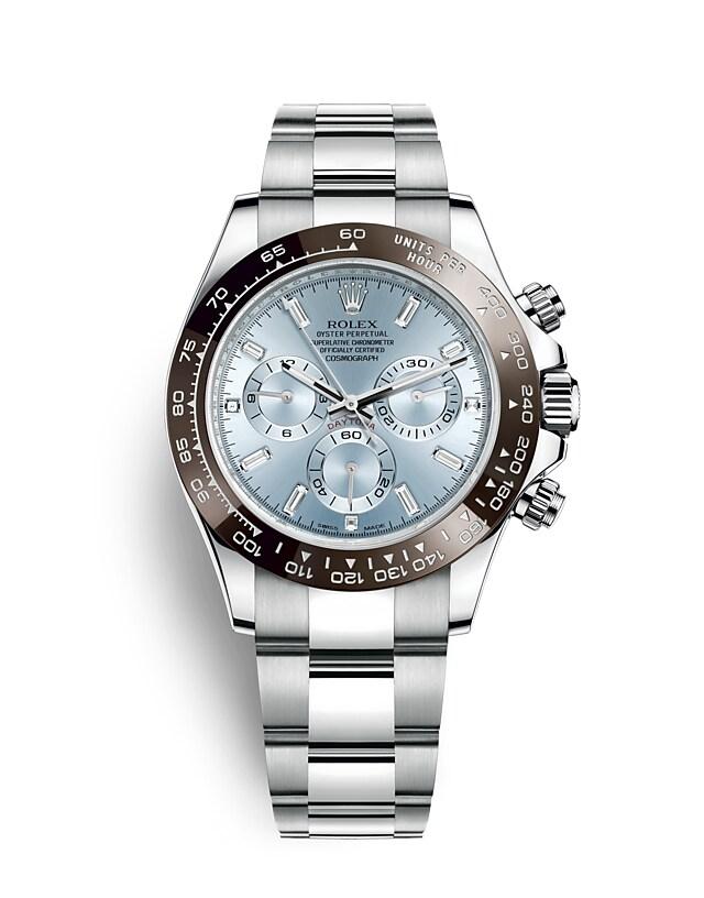 นาฬิกา Rolex Cosmograph Daytona 40 มม., หน้าปัดสีฟ้าไอซ์บลู ขอบหน้าปัด Monobloc Cerachrom สีน้ำตาลเชสต์นัท