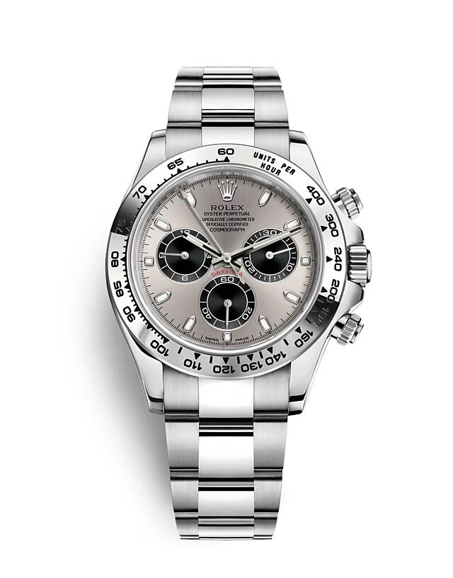 นาฬิกา Rolex Cosmograph Daytona 40 มม., ทองคำขาว, หน้าปัดเหล็กและสีดำ