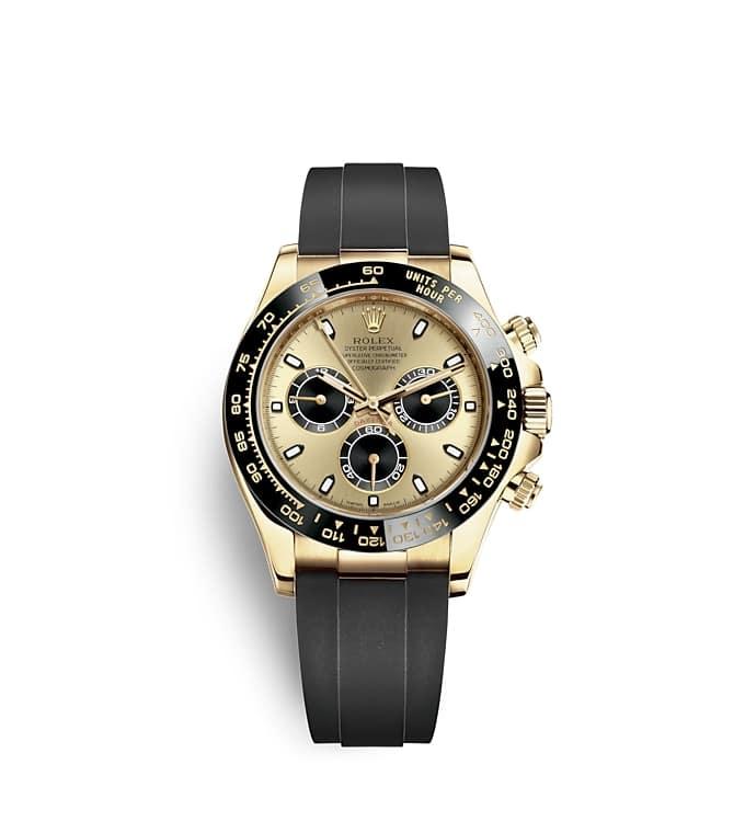 นาฬิกา Rolex Cosmograph Daytona 40 มม., หน้าปัดสีแชมเปญและสีดำ ขอบหน้าปัด Monobloc Cerachrom สีดำ
