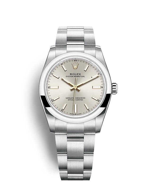 นาฬิกา Rolex Oyster Perpetual 34 มม., หน้าปัดสีเงิน สายนาฬิกา OYSTER