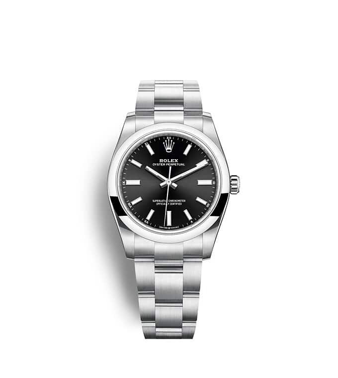 นาฬิกา Rolex Oyster Perpetual 34 มม., หน้าปัดสีดำสว่าง สายนาฬิกา OYSTER