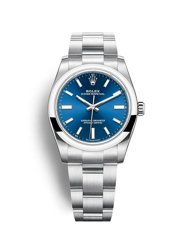 นาฬิกา Rolex Oyster Perpetual 34 มม., หน้าปัดสีน้ำเงินสว่าง สายนาฬิกา OYSTER