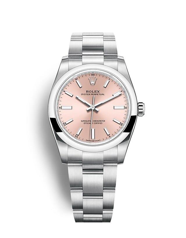นาฬิกา Rolex Oyster Perpetual 34 มม., หน้าปัดสีชมพู สายนาฬิกา OYSTER