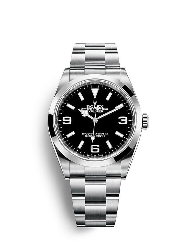 นาฬิกา Rolex Explorer 36 มม., Oystersteel หน้าปัดสีดำ ขอบหน้าปัดแบบเรียบ