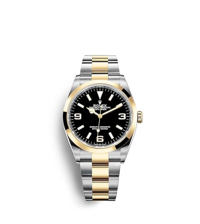 นาฬิกา Rolex Explorer 36 มม., Oystersteel และทองคำ หน้าปัดสีดำ ขอบหน้าปัดแบบเรียบ