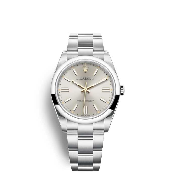 นาฬิกา Rolex Oyster Perpetual 41 มม., หน้าปัดสีเงิน สายนาฬิกา OYSTER