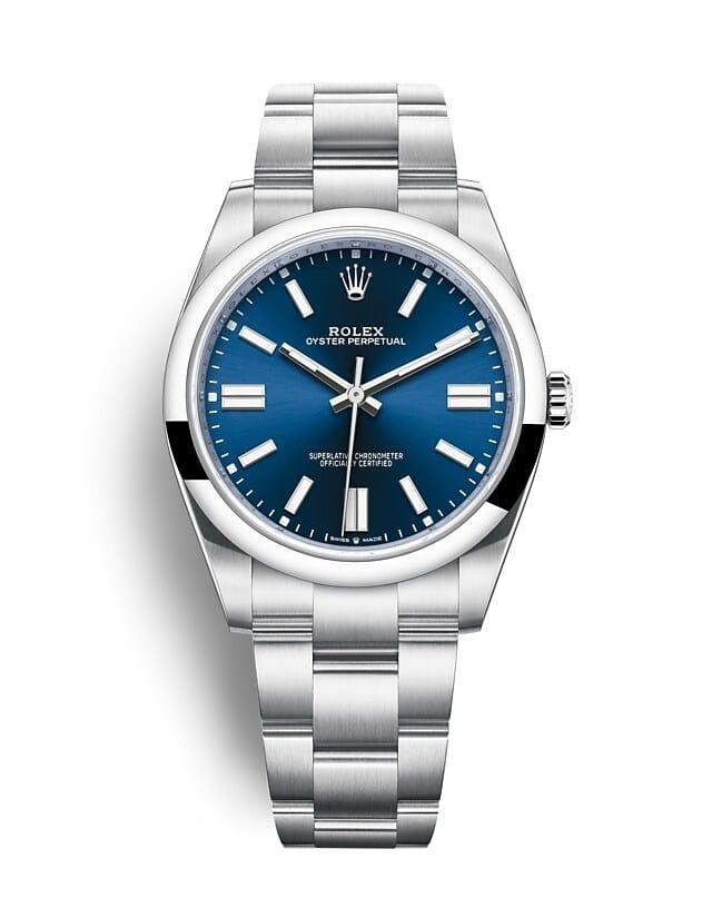 นาฬิกา Rolex Oyster Perpetual 41 มม., หน้าปัดสีน้ำเงินสว่าง สายนาฬิกา OYSTER