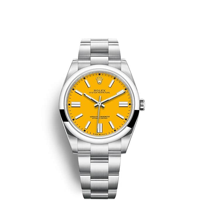 นาฬิกา Rolex Oyster Perpetual 41 มม., หน้าปัดสีเหลือง สายนาฬิกา OYSTER