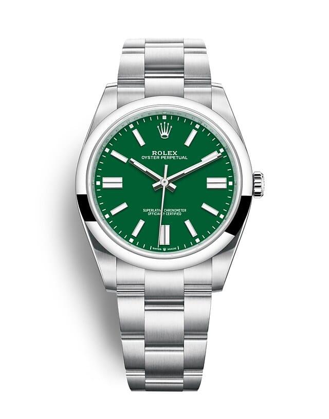 นาฬิกา Rolex Oyster Perpetual 41 มม., หน้าปัดสีเขียว สายนาฬิกา OYSTER
