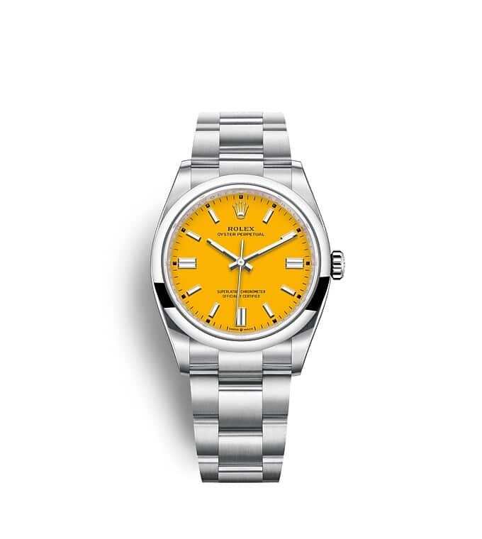 นาฬิกา Rolex Oyster Perpetual 36 มม., หน้าปัดสีเหลือง สายนาฬิกา OYSTER