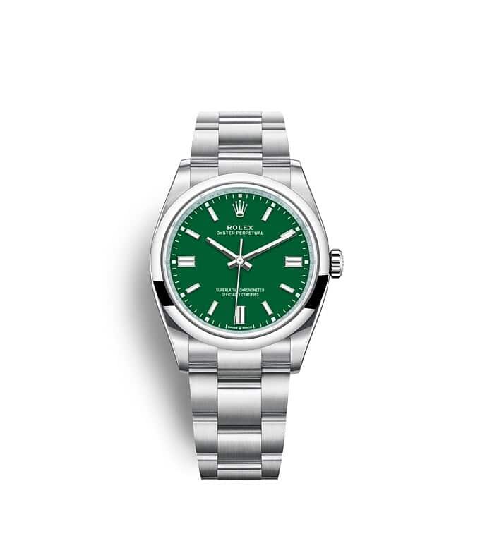 นาฬิกา Rolex Oyster Perpetual 36 มม., หน้าปัดสีเขียว สายนาฬิกา OYSTER