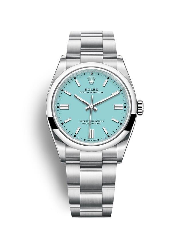 นาฬิกา Rolex Oyster Perpetual 36 มม., หน้าปัดสีฟ้าเทอร์ควอยซ์ สายนาฬิกา OYSTER