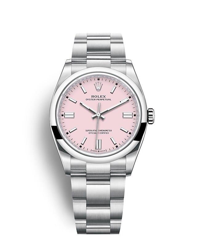 นาฬิกา Rolex Oyster Perpetual 36 มม., หน้าปัดสีชมพูแคนดี้ สายนาฬิกา OYSTER