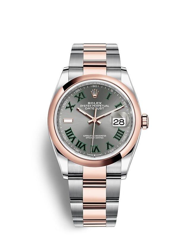 นาฬิกา Rolex Datejust 36 มม., Oystersteel และเอเวอร์โรสโกลด์ หน้าปัดสีเทาอมน้ำเงิน สายนาฬิกา OYSTER
