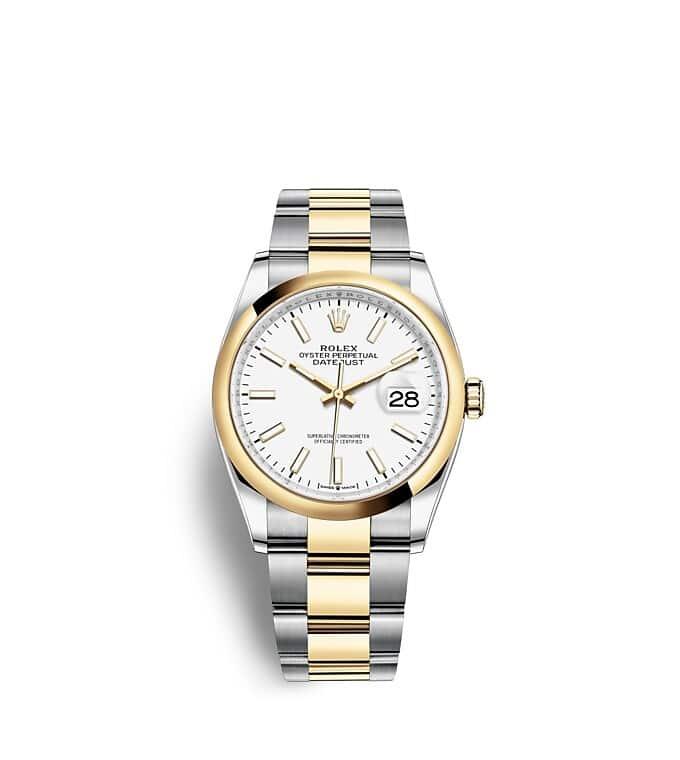 นาฬิกา Rolex Datejust 36 มม., Oystersteel และทองคำ หน้าปัดสีขาว สายนาฬิกา OYSTER