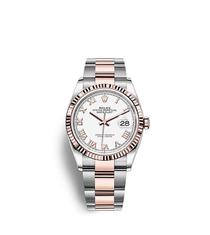 นาฬิกา Rolex Datejust 36 มม., Oystersteel และเอเวอร์โรสโกลด์ หน้าปัดสีขาว