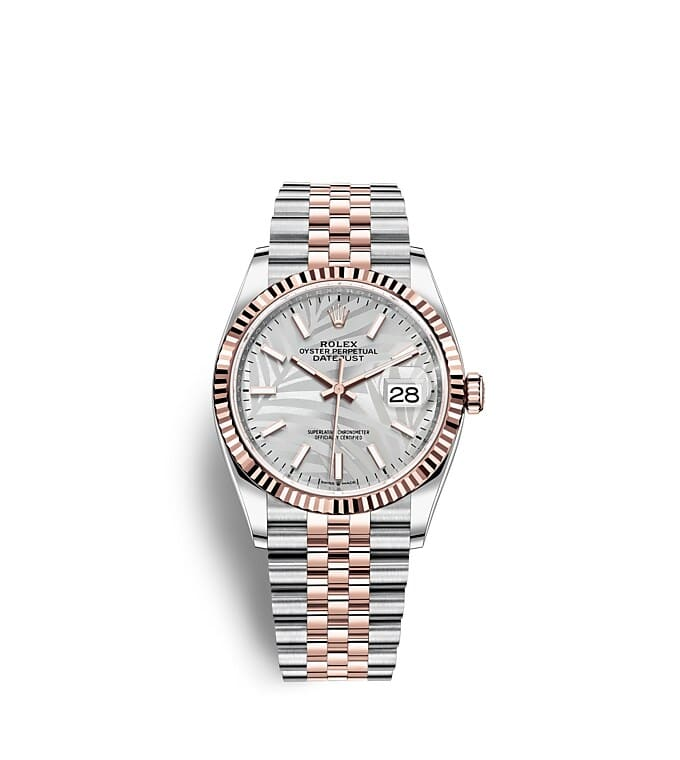 นาฬิกา Rolex Datejust 36 มม., Oystersteel และเอเวอร์โรสโกลด์ หน้าปัดสีเงิน ลวดลายต้นปาล์ม
