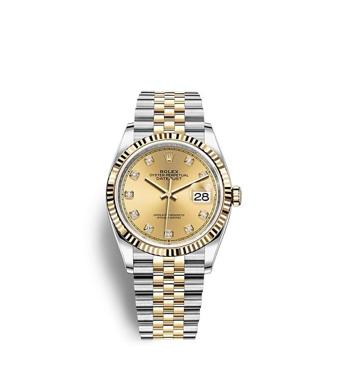 นาฬิกา Rolex Datejust 36 มม., Oystersteel และทองคำ หน้าปัดสีแชมเปญประดับเพชร
