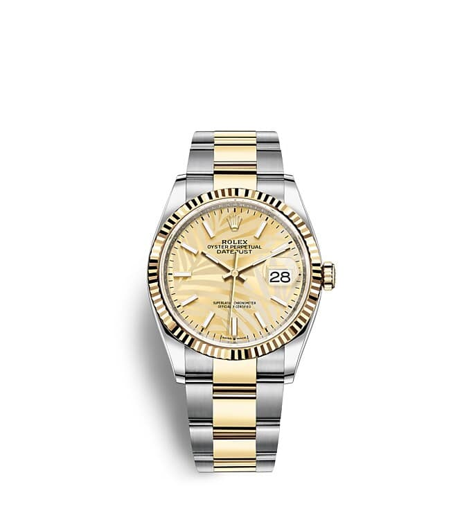 นาฬิกา Rolex Datejust 36 มม., Oystersteel และทองคำ หน้าปัดสีทอง ลวดลายต้นปาล์ม