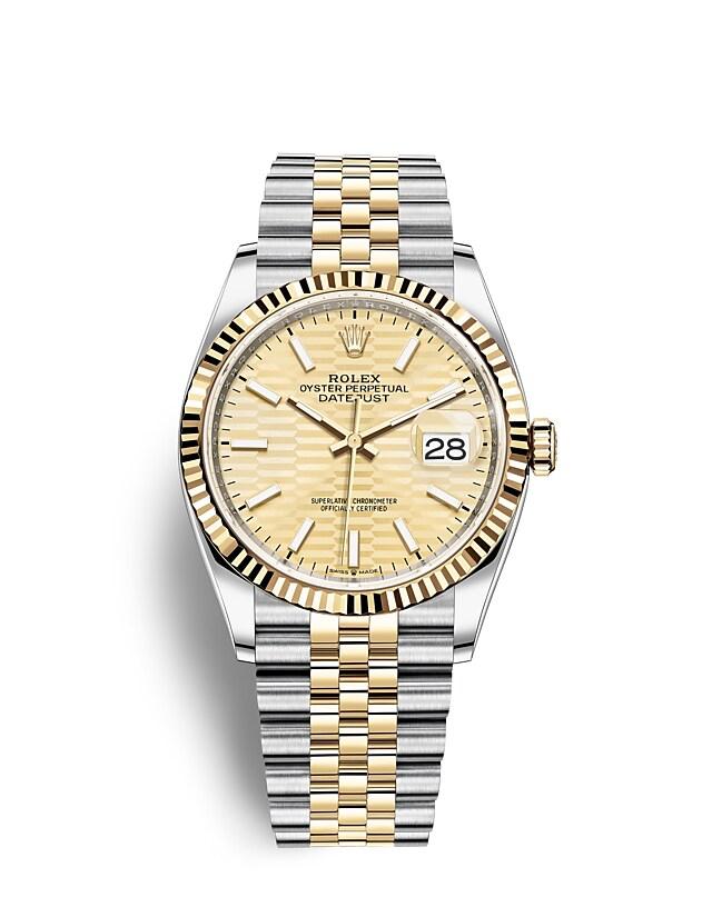 นาฬิกา Rolex Datejust 36 มม., Oystersteel และทองคำ หน้าปัดสีทอง ลวดลายแบบร่อง