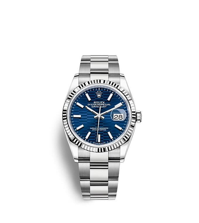 นาฬิกา Rolex Datejust 36 มม., Oystersteel และทองคำขาว หน้าปัดสีน้ำเงินสว่าง