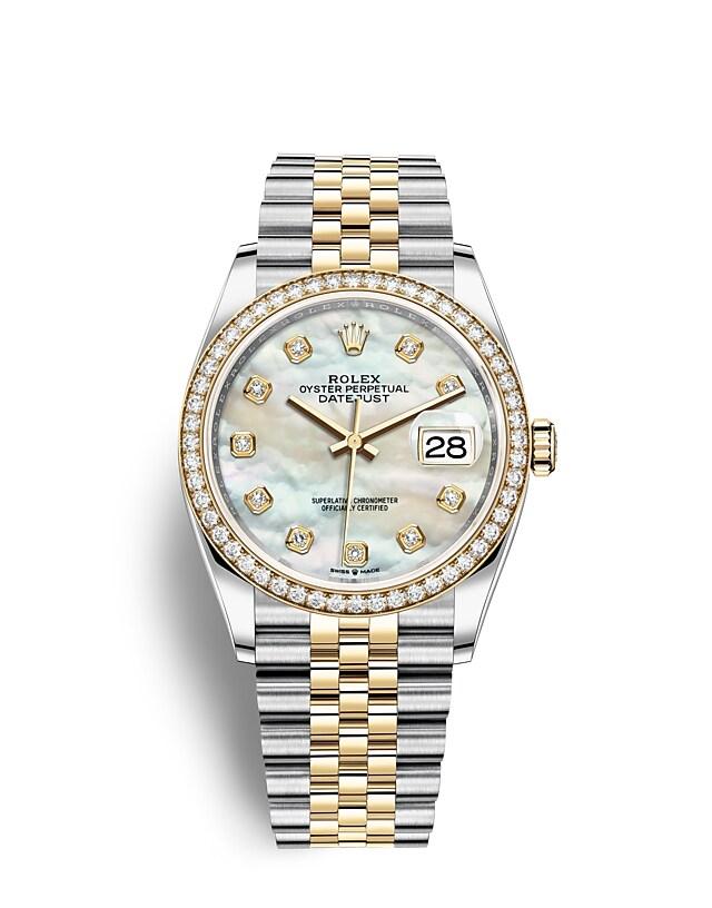 นาฬิกา Rolex Datejust 36 มม., Oystersteel, ทองคำเและเพชร หน้าปัดไข่มุกขาวประดับด้วยเพชร ขอบหน้าปัดประดับเพชร