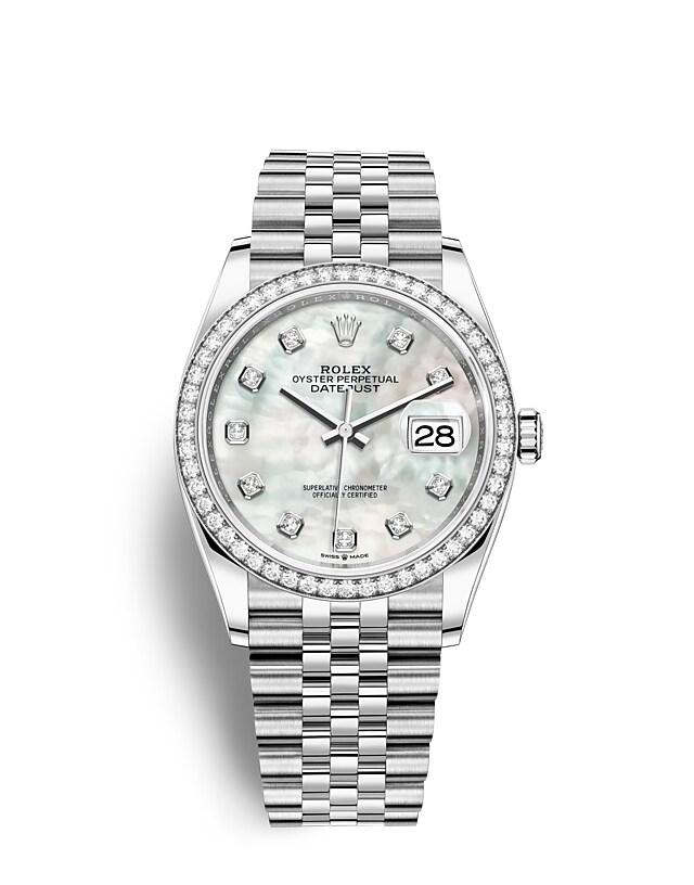 นาฬิกา Rolex Datejust 36 มม., Oystersteel, ทองคำขาวและเพชร หน้าปัดไข่มุกขาวประดับด้วยเพชร ขอบหน้าปัดประดับเพชร