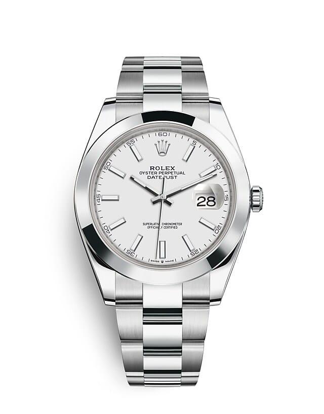 นาฬิกา Rolex Datejust 41 มม., Oystersteel หน้าปัดสีขาว สายนาฬิกา OYSTER