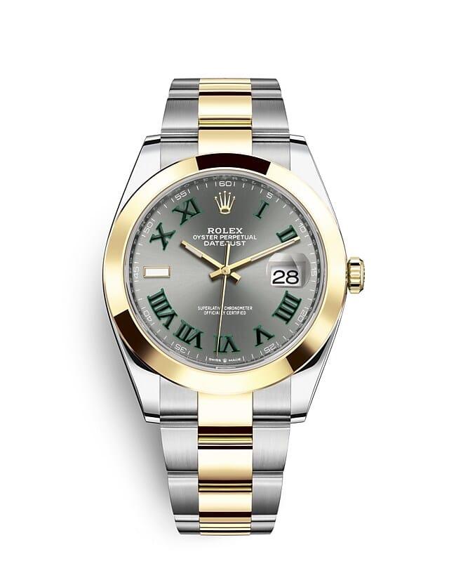 นาฬิกา Rolex Datejust 41 มม., Oystersteel และทองคำ หน้าปัดสีเทาอมน้ำเงิน สายนาฬิกา OYSTER