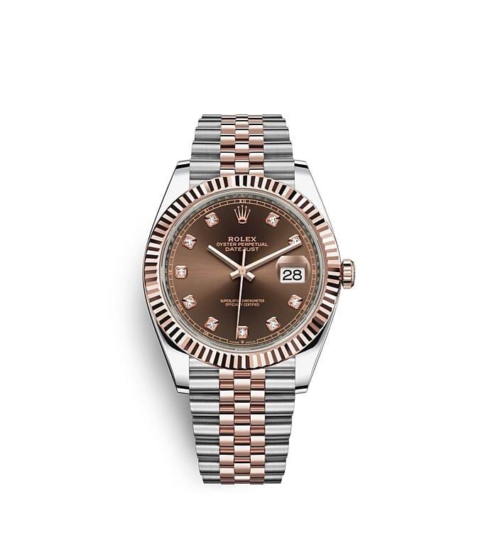 นาฬิกา Rolex Datejust 41 มม., Oystersteel และเอเวอร์โรสโกลด์ หน้าปัดสีช็อกโกแลตประดับเพชร