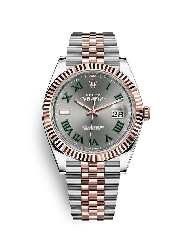 นาฬิกา Rolex Datejust 41 มม., Oystersteel และเอเวอร์โรสโกลด์ หน้าปัดสีเทาอมน้ำเงิน