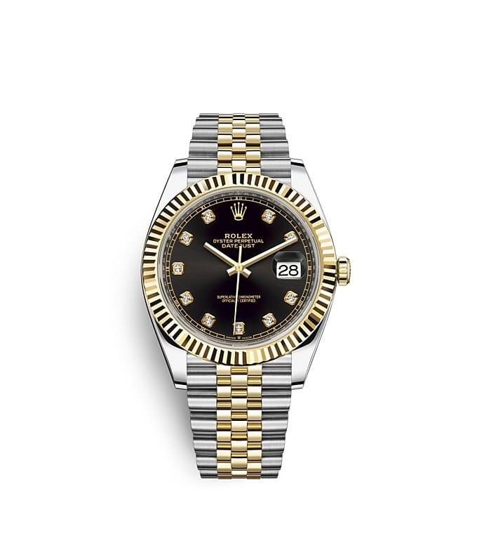 นาฬิกา Rolex Datejust 41 มม., Oystersteel และทองคำ หน้าปัดสีดำสว่างประดับเพชร