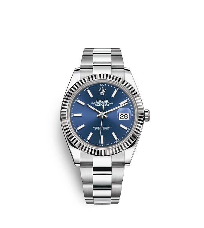 นาฬิกา Rolex Datejust 41 มม., Oystersteel และทองคำขาว หน้าปัดสีน้ำเงินสว่าง