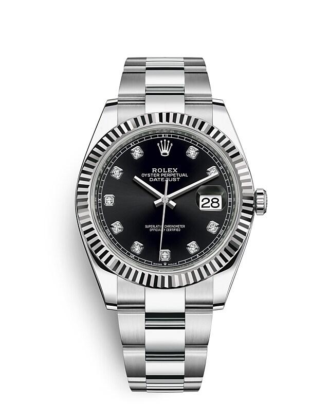 นาฬิกา Rolex Datejust 41 มม., Oystersteel และทองคำขาว หน้าปัดสีดำสว่าง