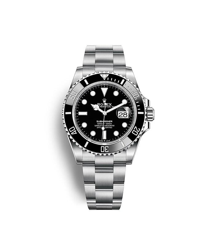 นาฬิกา Rolex Submariner 41 มม., Oystersteel หน้าปัดสีดำ ขอบหน้าปัดสีดำแสดงเวลา 60 นาที แสดงวันที่ และหมุนได้