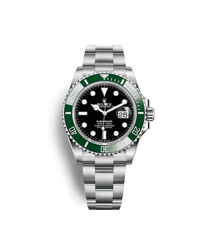 นาฬิกา Rolex Submariner 41 มม., หน้าปัดสีดำ ขอบหน้าปัดสีเขียว แสดงเวลา 60 นาที แสดงวันที่ และหมุนได้