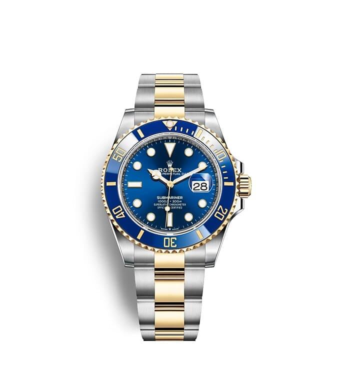 นาฬิกา Rolex Submariner 41 มม., หน้าปัดและขอบหน้าปัดสีรอยัลบลู ขอบหน้าปัดแสดงเวลา 60 นาที แสดงวันที่ และหมุนได้