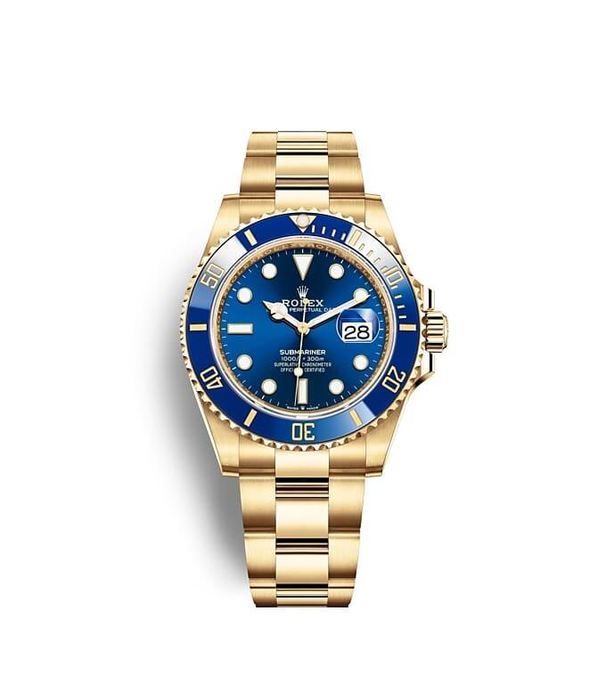 นาฬิกา Rolex Submariner 41 มม., ทองคำ หน้าปัดและขอบหน้าปัดสีรอยัลบลู