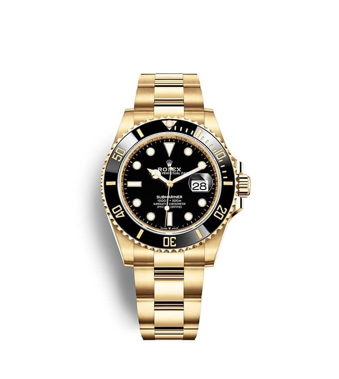 นาฬิกา Rolex Submariner 41 มม., ทองคำ หน้าปัดและขอบหน้าปัดสีดำ