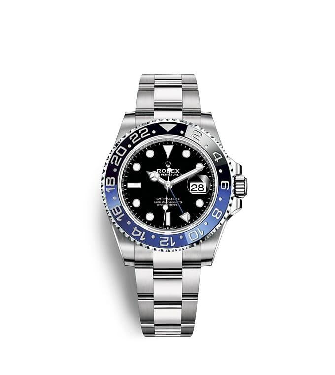 นาฬิกา Rolex GMT Master II 40 มม., หน้าปัดสีดำ ขอบหน้าปัด Cerachrom สีน้ำเงินและสีดำ