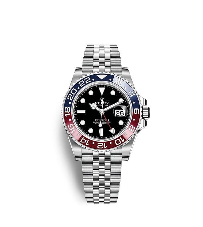 นาฬิกา Rolex GMT Master II 40 มม., หน้าปัดสีดำ ขอบหน้าปัด Cerachrom สีแดงและสีน้ำเงิน