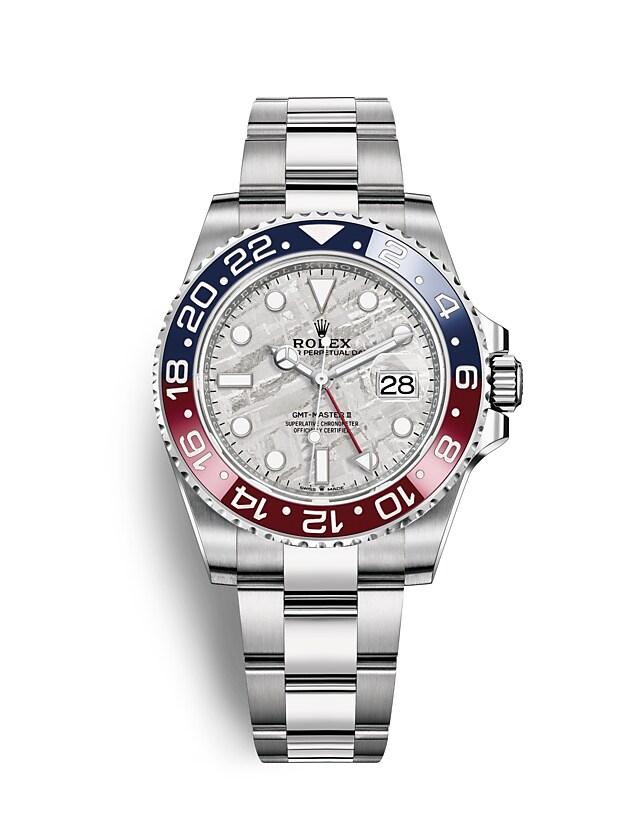 นาฬิกา Rolex GMT Master II 40 มม., หน้าปัดเมธีโอไรท์ ขอบหน้าปัด Cerachrom สีแดงและสีน้ำเงิน