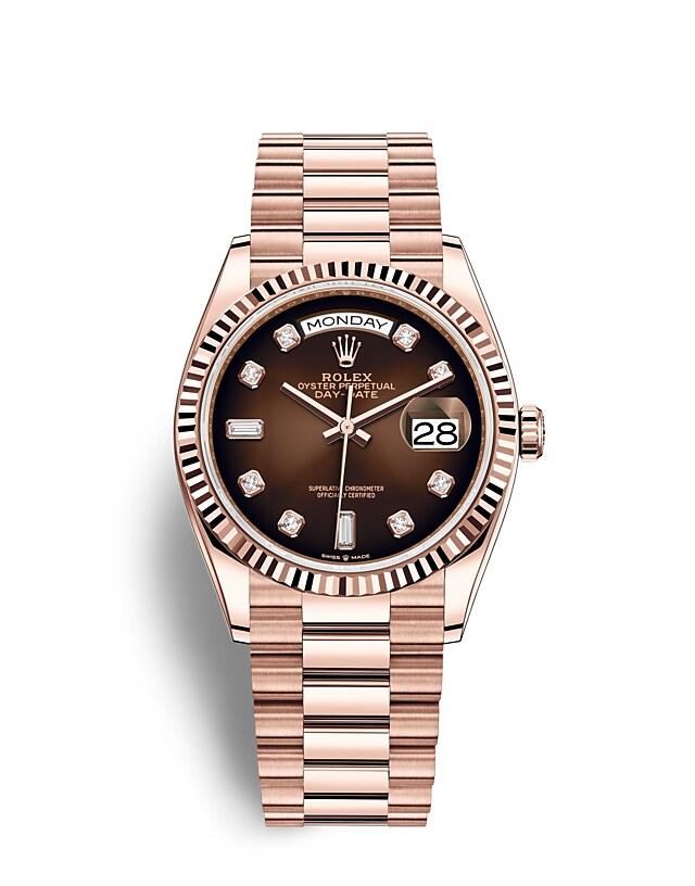 นาฬิกา Rolex Day-Date 36 มม., เอเวอร์โรสโกลด์ หน้าปัดสีน้ำตาลออมเบร ขอบหน้าปัดแบบเซาะร่อง