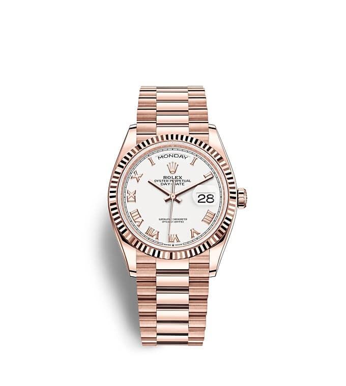นาฬิกา Rolex Day-Date 36 มม., เอเวอร์โรสโกลด์ หน้าปัดสีขาว ขอบหน้าปัดแบบเซาะร่อง