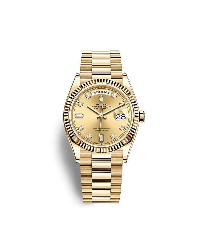 นาฬิกา Rolex Day-Date 36 มม., ทองคำ หน้าปัดสีแชมเปญ ขอบหน้าปัดแบบเซาะร่อง