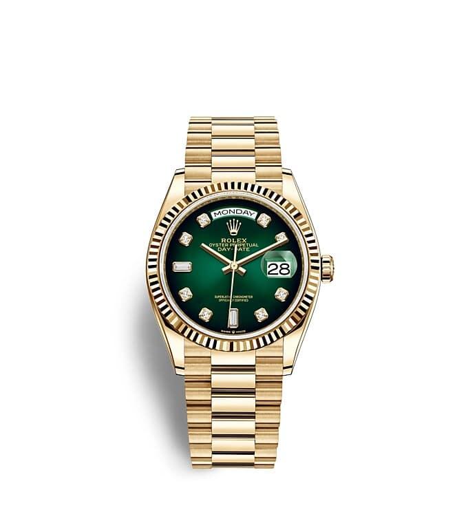 นาฬิกา Rolex Day-Date 36 มม., ทองคำ หน้าปัดสีเขียวออมเบร ขอบหน้าปัดแบบเซาะร่อง