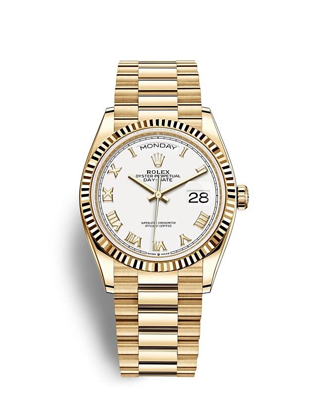 นาฬิกา Rolex Day-Date 36 มม., ทองคำ หน้าปัดสีขาว ขอบหน้าปัดแบบเซาะร่อง